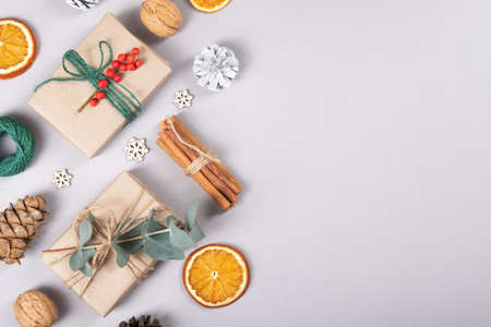 Beautiful, natural, reusable and zero waste composition of christmas objects.