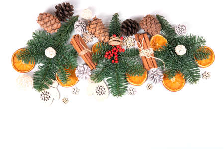 Beautiful, natural, reusable and zero waste composition of christmas objects on isolated background.