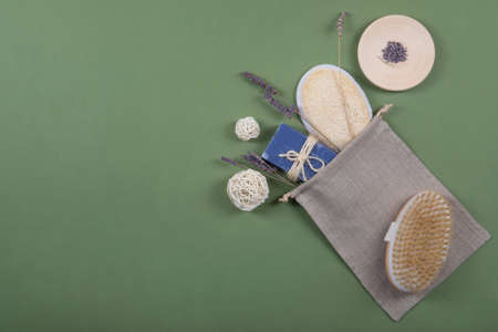 Natural, healthy and zero waste bathroom or spa objects with lavender.