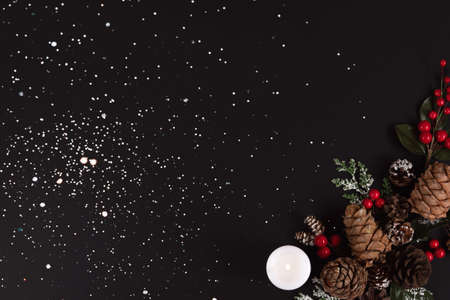 Forest pinecones, red berries and green leaves with white candle on the black background in snow.