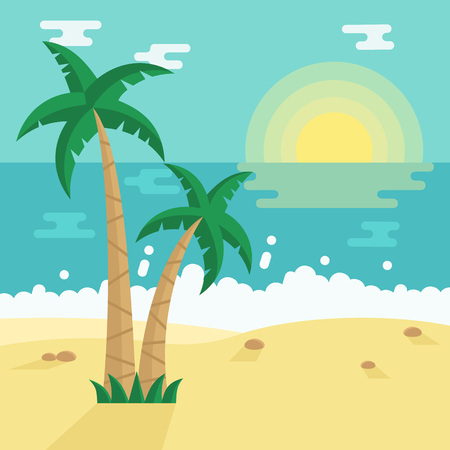 Summer Beach with Tropical Palm trees. illustration in flat style. Vetores