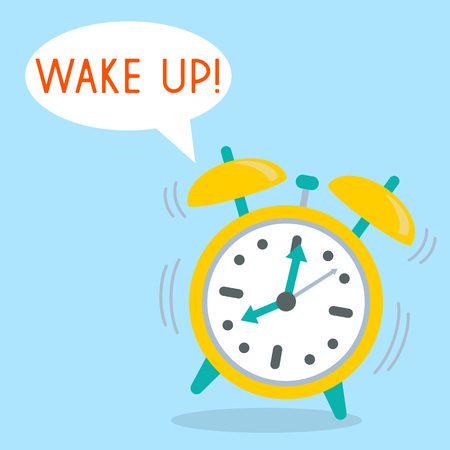 Alarm Clock with word Wake up.  illustration in flat style. Illustration