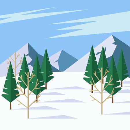 針葉樹, 山と青空の美しい冬の風景。 フラット スタイルのイラスト。  イラスト・ベクター素材
