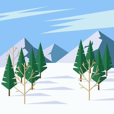 Beautiful winter landscape with coniferous trees, mountains and blue sky.  illustration in flat style. Illusztráció