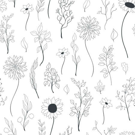 Vector seamless doodle pattern of black-lined autumn flowers, leaves, and branches on white background. The endlessly repeated backdrop of fall motives for wrapping, textile, gift paper, scrapbooking. Vecteurs