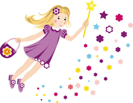 lila: Vektor illustration with a flying fairy for your design Illustration