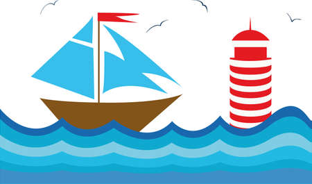 meer: Vector background with a sailboot for your design