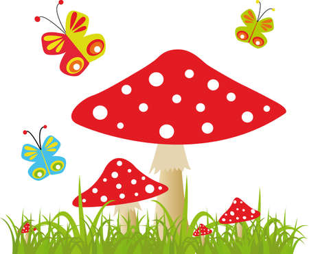 amanita: Vector background with butterfly and amanita