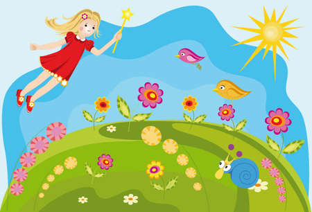 Vector background fairy with flowers