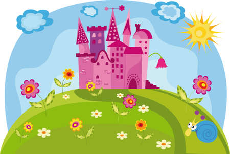 lila: Vector illustration with a castle