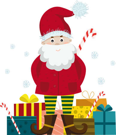 Santa claus with presents merry christmas greeting vector image 向量圖像