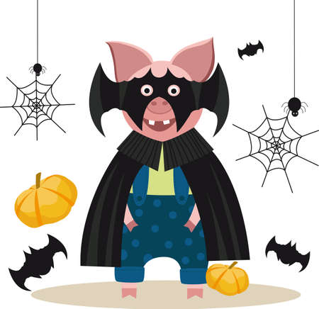 Halloween cute pig with a mask vector image
