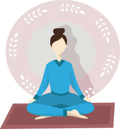 Happy young woman doing yoga meditation isolated vector image for your design