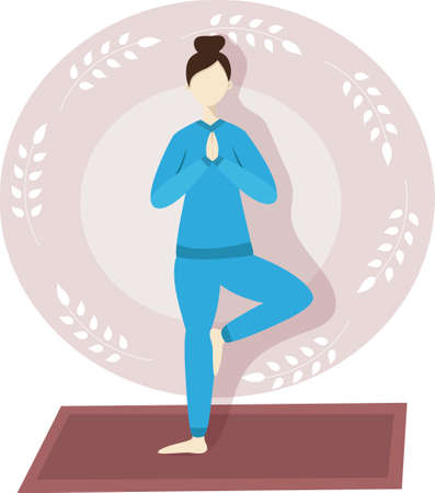 Happy young woman doing yoga tree pose isolated vector image for your design Çizim