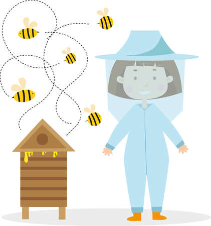 Cute beekeeper girl with bees insects vector image for your design