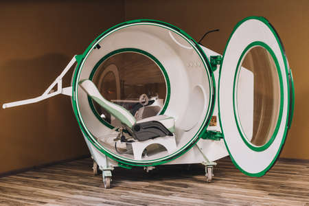 atmospheric pressure: Exterior of individual hyperbaric recompression chamber. A hyperbaric chamber is a compartment in which air pressure is much higher or lower than normal.