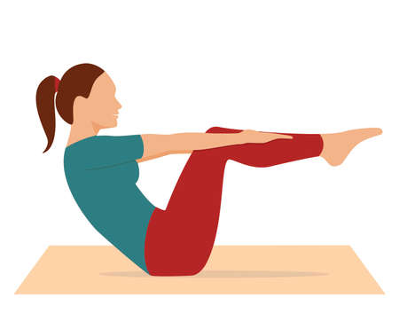 Woman doing workout. Sport exercise isolated on white background. Yoga and fitness, healthy lifestyle. Flat vector illustration