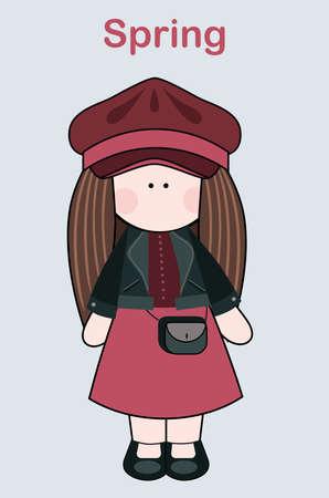 Little sweet doll in spring vector image Illusztráció
