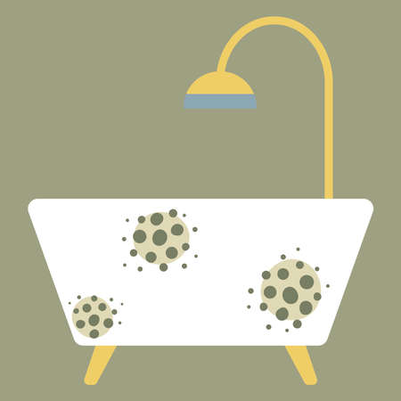 Bath with mold. Flat on white background