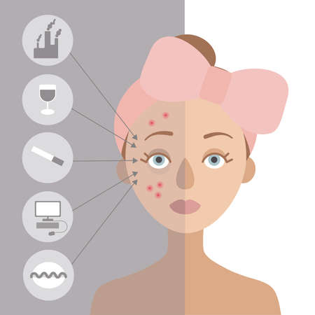 Girl with a pink bow on her head. It is problematic. On the left circles, for the skin.Flat vector