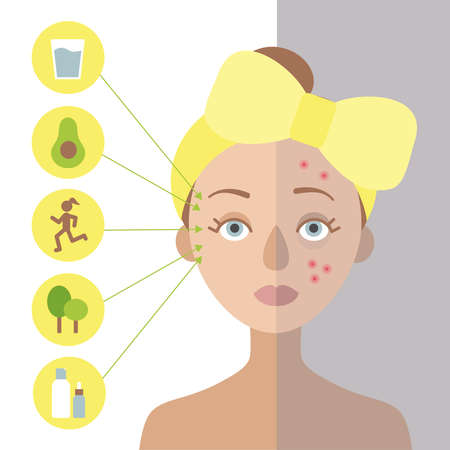 Girl with a yellow bow on her head. It is problematic. On the left circles, for the skin.Flat vector