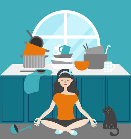 Housewife meditates in the kitchen near the table with dishes. Sitting next to a cat. On the table plates, pots, ladle, spoon, mug, towel. Flat vector Illusztráció