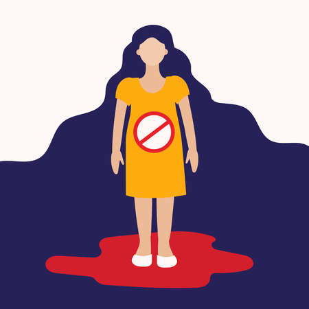 A girl in a pool of blood. There's a prohibition sign in her stomach. Abortion, miscarriage, loss of a child. Flat vector on white background