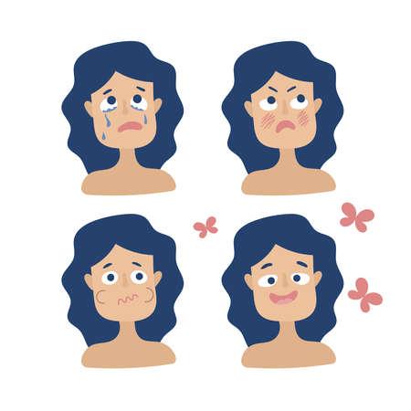 Diferentes emociones de una mujer embarazada. Ira, tristeza, disgusto, alegría. Hormonas Cambios de humor. Vector plano sobre fondo blanco