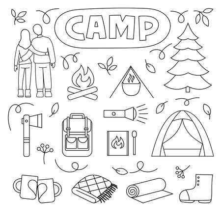 Man and woman, fire, matches, pot, Christmas tree, tent, backpack, rug and more. Ilustracja