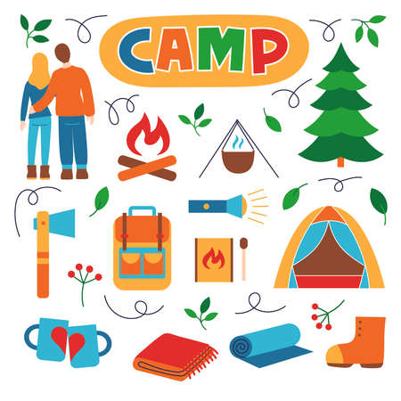 Man and woman, fire, matches, pot, Christmas tree, tent, backpack, rug and more