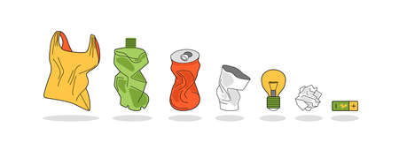 Household waste, garbage. Crumpled package, tin, bottle, plastic Cup, paper. As well as a light bulb and battery. Vector image on white background