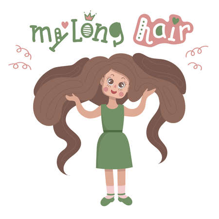 Cute cartoon girl with long hair. She holds her heavy hair in both hands. Lettering with the words my long hair. Illusztráció
