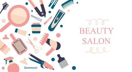 Vector card for hair salon. Hair instruments and elements on white background