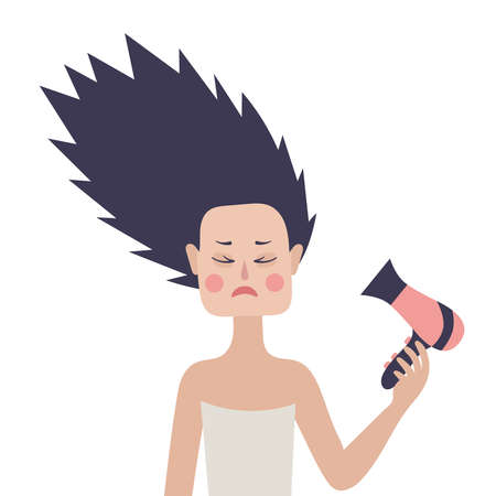 Girl with hair dryer. Vector on white background