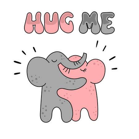 Two cute elephant hugging. Foto de archivo - 133535871