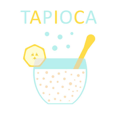 Tapioca with banana in a bowl with a spoon.