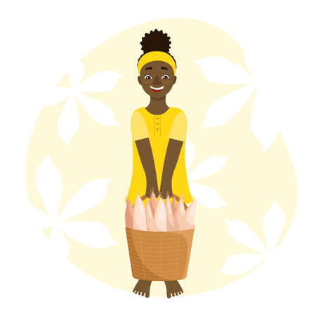 The girl is holding a basket of cassava roots. Illustration