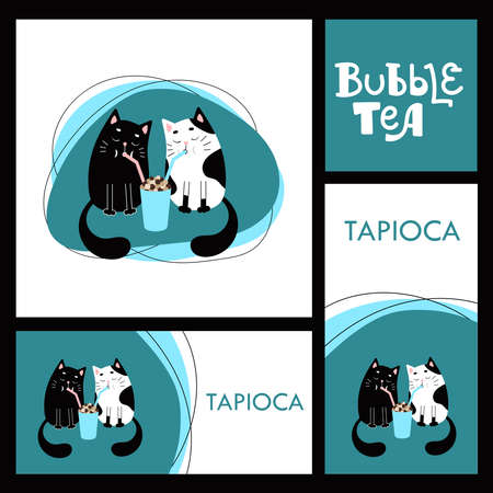 Two cats drink tea with tapioca through a tube. Copy space for your text.