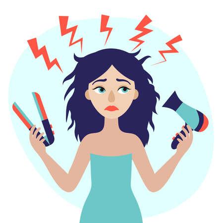 Junge schöne Frau mit Haartrockner und Styler in der Hand. Haarproblem. Beschädigung. Flache Vektorillustration