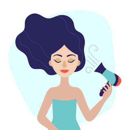 Giovane bella donna con asciugacapelli in mano. Illustrazione vettoriale piatta Vettoriali