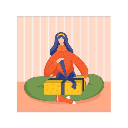 Young woman unpacks Christmas gift in yellow box. Vector flat illustration Çizim