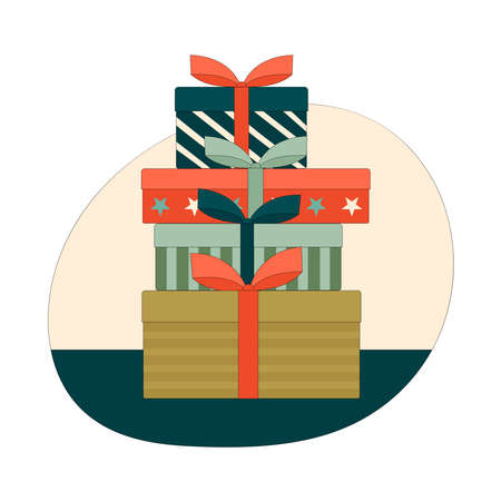 A pile of gift boxes with bows. Gifts for Christmas, birthday, new year. Linear vector illustration in green, red and yellow Çizim