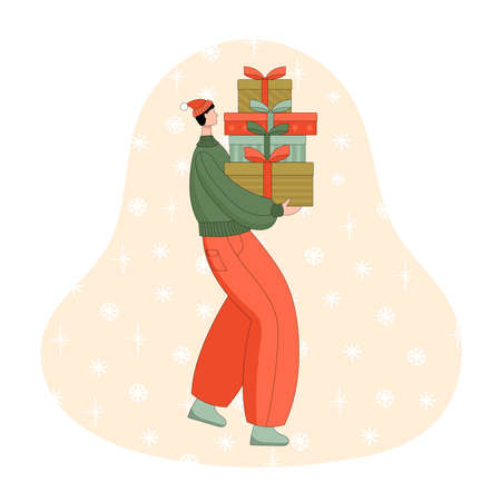 A young man carries a pile of gift boxes in his hands. Holiday. Christmas. New Year. Birthday. Congratulation. Linear vector illustration