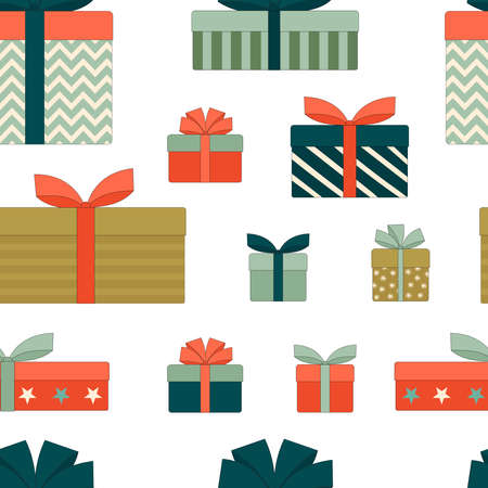 Gift boxes with bows.Christmas, new year, birthday. Seamless pattern. Flat linear vector illustration