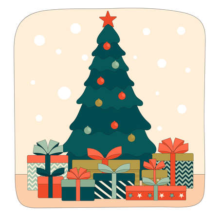 Decorated Christmas tree with gift boxes under it. Linear flat vector illustration Çizim