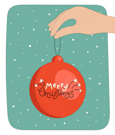 Hand holding a red Christmas ball. Lettering Merry Christmas.Flat linear vector illustration