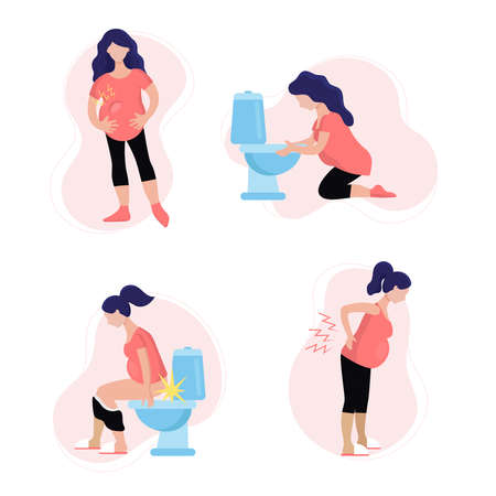 Young pregnant woman in different problems. Toxicosis, nausea, vomiting, gestosis, swelling, constipation, hemorrhoids, lower back pain. Flat isolated vector illustration