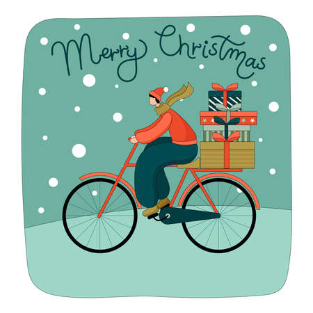 A young man rides a Bicycle and carries a pile of gift boxes with bows.Linear flat vector illustration