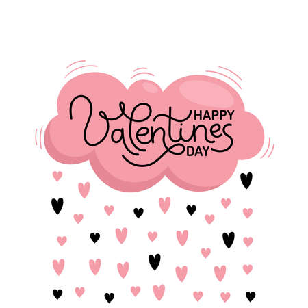 Valentines day card for holiday decoration. Pink cloud and rain of hearts. Vector flat illustration on white background