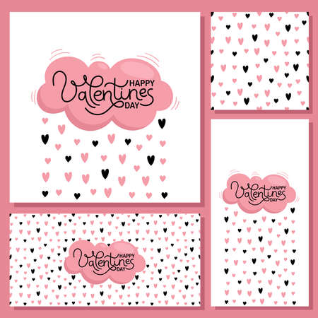 Valentines day cards for holiday decoration. Pink cloud and rain of hearts. Seamless pattern. Vector flat illustration on white background